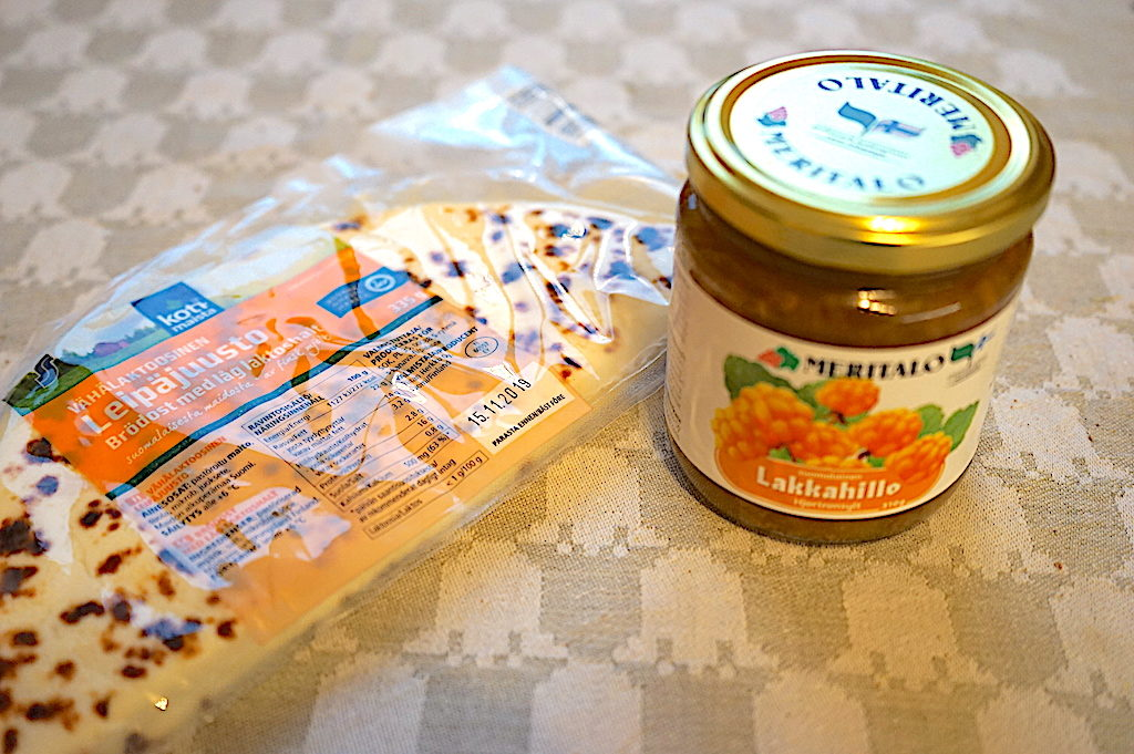 Leipäjuusto (Finnish Squeaky Cheese) and Cloudberry jam